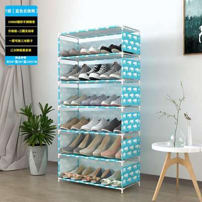 18 pairs Fashion shoes 7 rows made of steel thickened tube shoe rack image 2