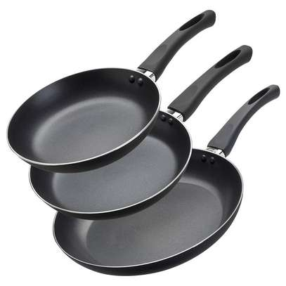 3 Piece Non-stick frying pans + 3 SILVER SPOONS image 1