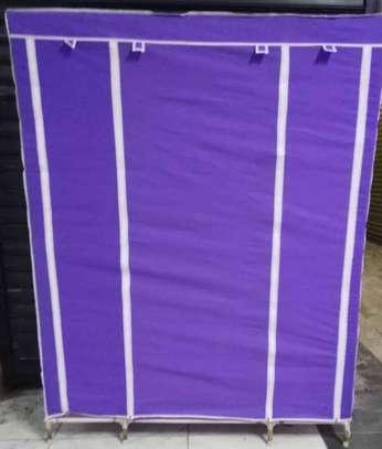 purple portable wooden wardrobe organiser image 2