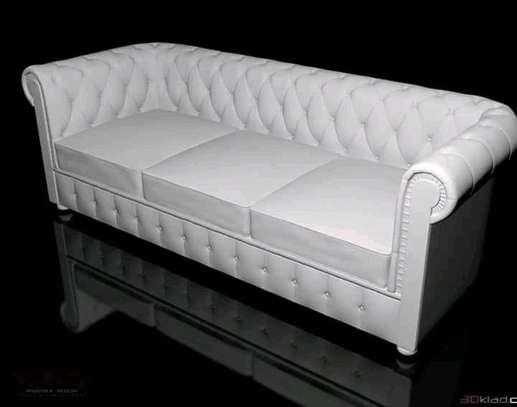 White three seater Chesterfield sofa image 1