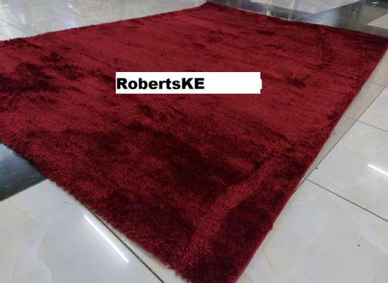 Turkish shaggy maroon carpet image 1