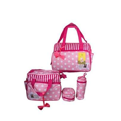 Baby Kingdom 5 Pcs Multi functional Diaper Bag - Pink & White . image 1