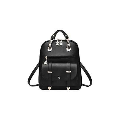 Bagsdiva Women's Casual Backpack Concise Preppy Style PU Leather Shoulder Bag with Bear Pendant,Black image 2