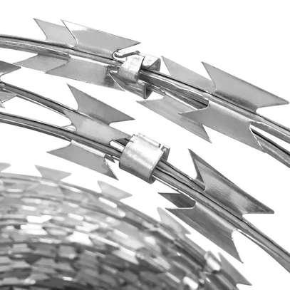Spiral galvanized razor wire image 1