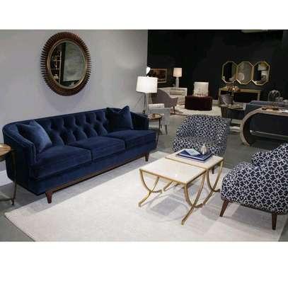 Three seater velvet blue sofa/single seater sofas/sofas for sale in Nairobi Kenya image 1