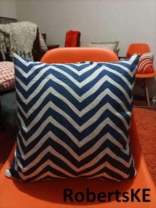 dark blue and white zigzag throw pillows image 1