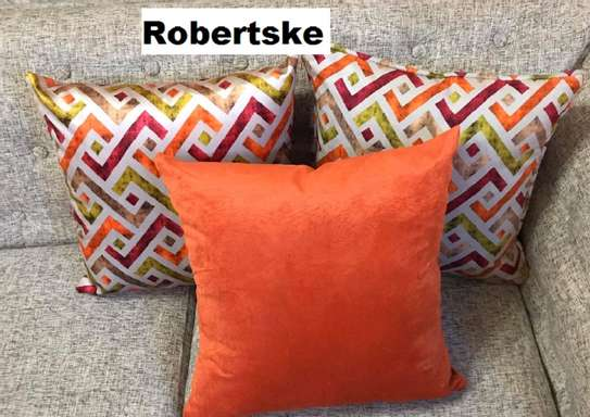 throw pillows  green and orange  print