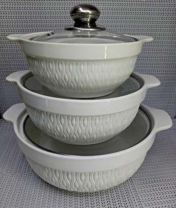 3pcs set Ceramic serving dishes with glass cover image 2