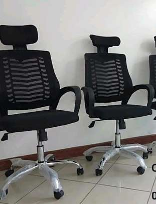 Headrest office chair with comfortable cushion image 1