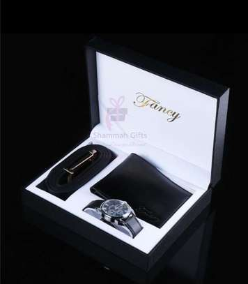 Gift package for the gentleman content - belt, wrist watch and a wallet customized with a name engrave. Order today for him! image 1