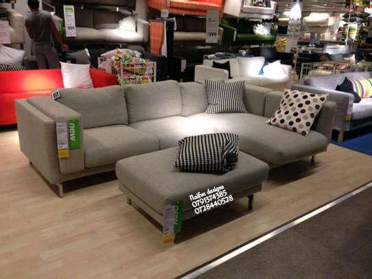 Five seater grey L shaped sofas plus footrest puff image 1