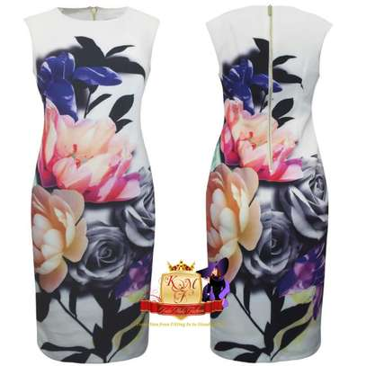Floral Print Ruched Scuba Shift Dress Made in UK.