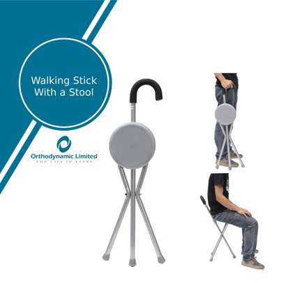 Walking stick with a stool (Folding Seat Cane) image 1