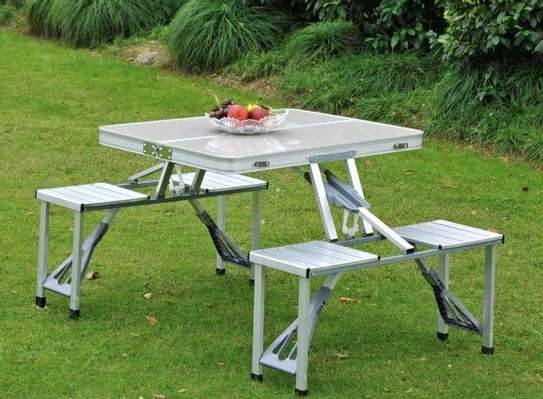 Trail Portable Folding Picnic Table Chairs Set, Durable Aluminium Outdoor, Camping, Beach, BBQ, Hole For Parasol, Foldable With Handle