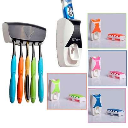 Toothpaste Dispenser & Toothbrush Holder Set Random 1 Pc image 1