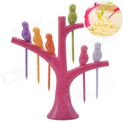 Birdie 6pcs Fruit  pick forks set with stand image 3