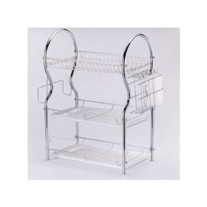 3 Layer Tier Stainless Steel Dish Drainer Drying Rack image 2