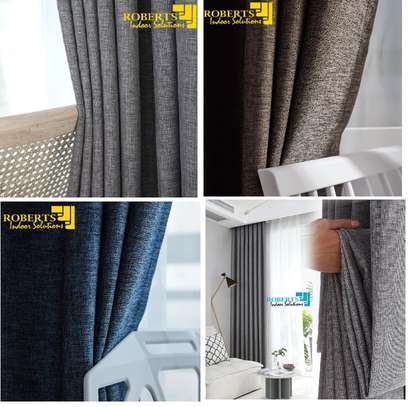 grey-blue-brown linen curtain image 1