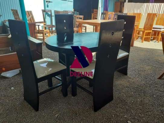 Black 4 Seater Dining Table. image 7