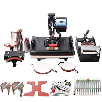 8 in 1 heat press machine can be used for T-shirts, caps, ceramic plates, fabrics & materials image 1