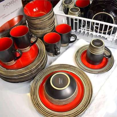 Red and brown striped heavy ceramics 24-piece dinner set image 1