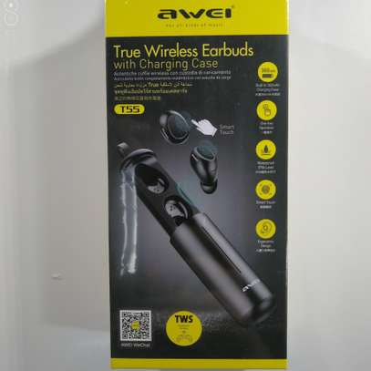 AWEI T55 TWS Bluetooth 5.0 Sports Wireless Earphone With Charge Case image 7