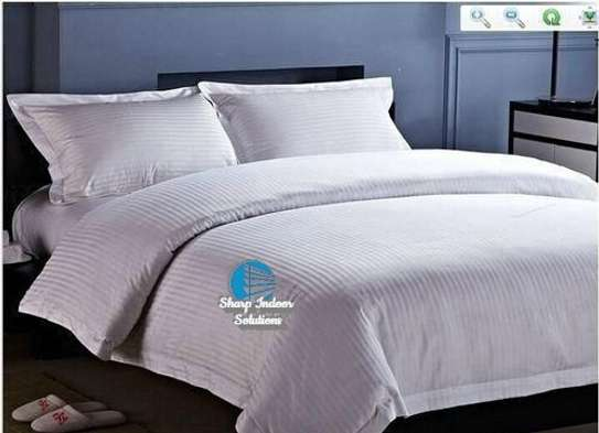 Stripped white cotton duvet covers image 2