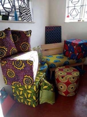 Ankara/Kitenge benches with 3 back cushions and pouf image 2