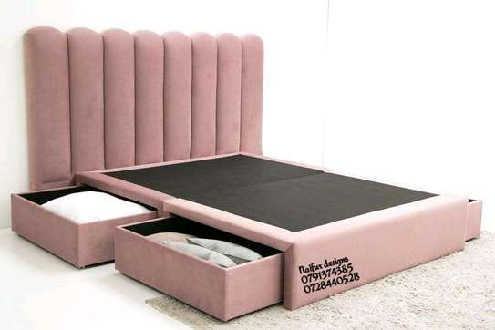 Modern queen beds with underbed drawers image 1
