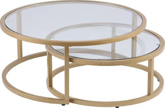 2 Piece Nesting Cocktail Table Set (Gold) image 1