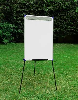 CLASSIC STEEL EASEL WHITEBOARD PORTRAIT ORIENTATION, ALUMINUM FRAME, ON A TRIPOD STAND & PORTABLE! image 2