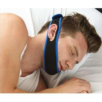Anti Snore Chin Strap Care Sleep Stop Snoring Belt Chin Jaw Supporter Apnea Belt  - Blue image 1