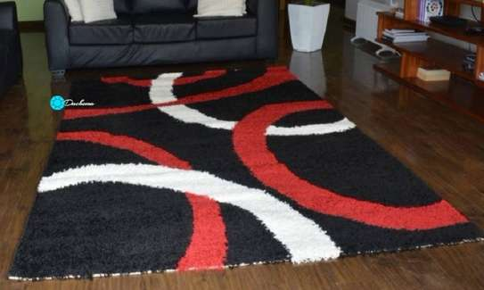 5*8 black patterned shaggy carpets image 1
