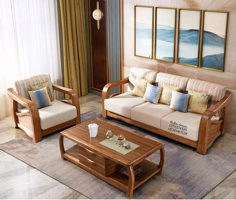 Wood sofas/polished wood sofas/four seater sofas image 1