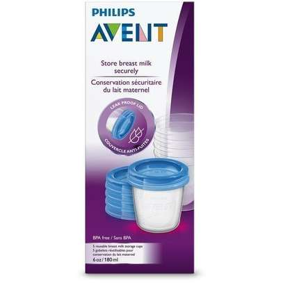 Philips AVENT Breast Milk Storage Cups, 180 ml (Pack of 5) - Clear image 2