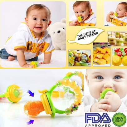 Silicone Baby Fruit Feeder Pacifier with Teething Rattle Toy image 2