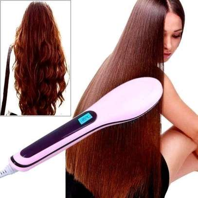 Professional Hair Straightener Comb Brush LCD Display - Pink image 7