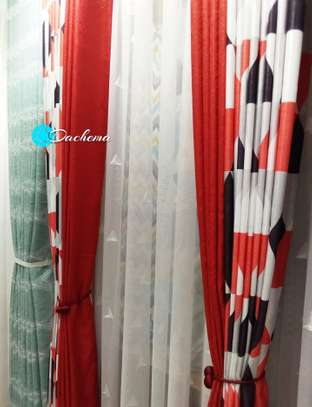 red patterned double-sided curtains image 1