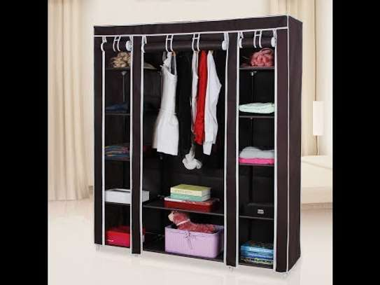 3 COLUMN SOLID WOOD PORTABLE WARDROBE image 1