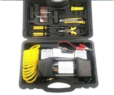 2 double column cylinder with tyre repair set kit image 1