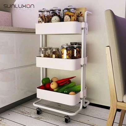 3 tier metallic movable trolley image 1