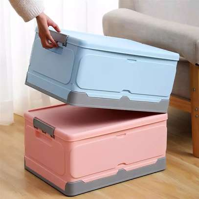 Large foldable storage box with plastic lid closet books and car storage organizer-pink image 1