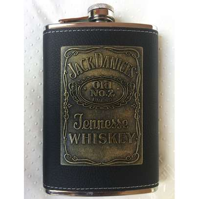 Stylish Stainless Steel Leather Top Hip Alcohol Whisky Flask image 1
