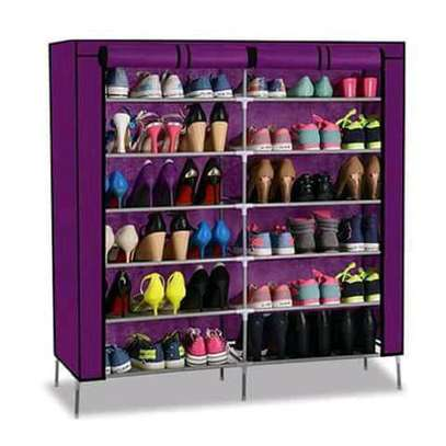 Wooden portable shoe rack image 2