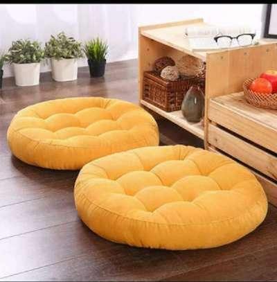 1pc Round Soft Floor Pillow - Yellow image 1