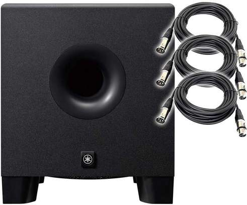 """Yamaha HS8S Powered Studio Subwoofer 8"""" + (3) XLR to XLR Cables image 1"""