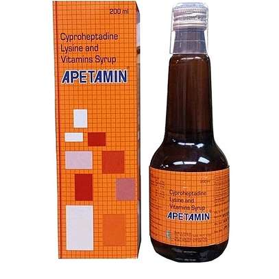 APETAMIN Apetamin Cyproheptadine Lysine and Vitamins body shapping Syrup FOR WEIGHT GAIN - 200ml image 1