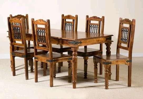 6 seater mahogany dining table image 1