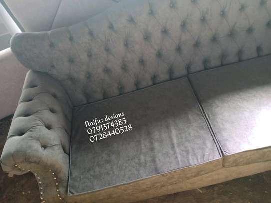 Three seater sofa/grey sofas/buttoned sofas/chesterfield sofas/sofas for three image 2