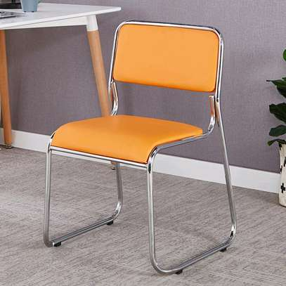 Stacking leather conference and reception chair b97R image 1